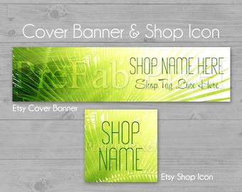 Etsy Banner, Green Shop Banner, Cover Banner, Tropical Banner, Palm Tree Banner, Banner, Leaf Banner, Nature Banner, Island Banner