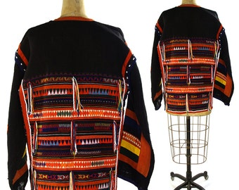 Embroidered Akha Tribal Patchwork Jacket with Fringe / Vintage 1970s Ethnic Thai Handwoven Hemp Duster with Applique / Boho Beaded