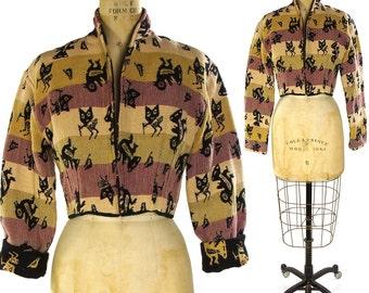 Southwest Blazer with Tribal Bird Pattern / Vintage 1990s Woven Cotton Boho Hippie Bohemian Western Blanket Cropped Jacket / Native Birds