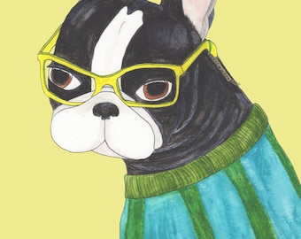 Boston Terrier Art Gift, Funny Animal Art Print, Going To College Gift, Best Dog Lover Gifts, Gifts Under 30 For Him, Boston Terrier Funny