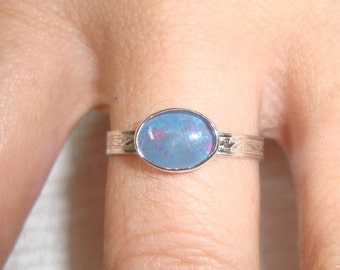 Ring Opal eco-friendly recycled sterling silver Custom made Oval 6x4, 7x5 or 8x6 mm engagement or stacker Fair Trade natural opal triplet