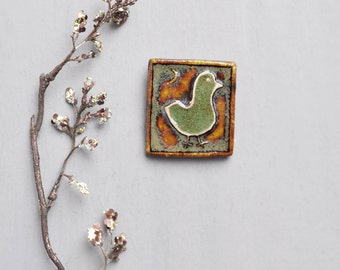 Vintage Glazed Ceramic Bird Brooch - square mid century Scandinavian artisan pin - CUB Denmark