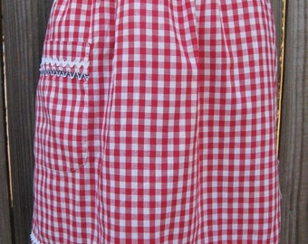 Vintage Half Apron - Red Check with Hand Embroidery and Ric Rac