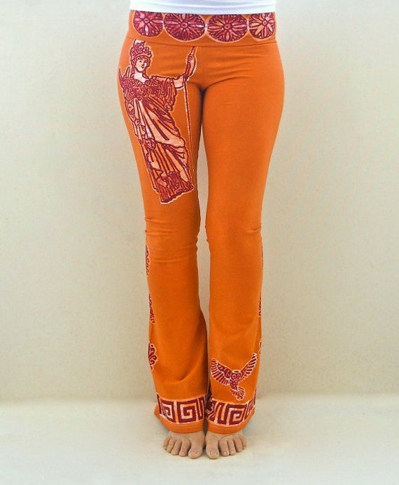 Goddess Earth Orange Yoga Pants High Waist Pant Hand By