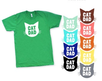 Cat Dad Green TShirt - Family Photos, Gift for Dad, Gift for Him, Cat Guy, Cat Person, Cat Lady