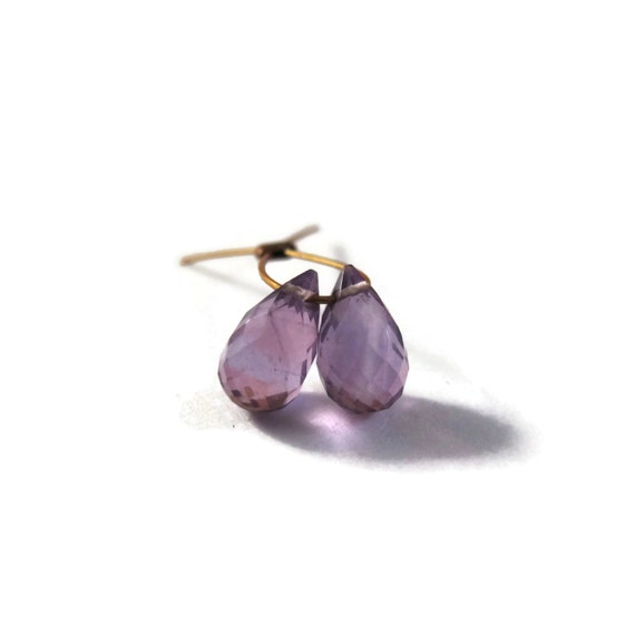 Two Natural Amethyst Beads, Purple Amethyst Matched Pair, Two Stones, 7.5mm x 4.5mm, Teardrop, Purple Gems (Pt-Am1b)