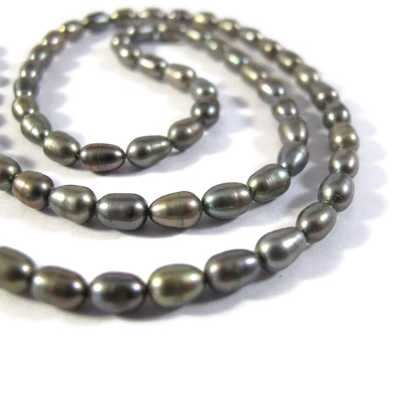 Silver Gray Pearl Beads, Natural Freshwater Rice Pearls, 6mm x 4mm Pearls for Making Jewelry (P-R17)