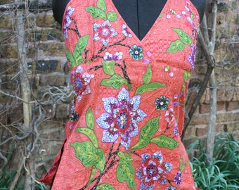 SALE was 24.00 Floral sequin Indonesia cotton print tank shirt blouse convertible halter or tank small floral sequins