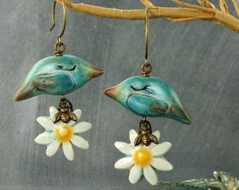 Bird Earrings Flower Earrings Birds and Bees Earrings Bird Jewelry Flower Jewelry Daisy Earrings Turquoise Bird Earrings Spring Earrings