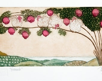 etching, pomegranate tree, fruit tree, hens, chickens, printmaking, tree, nature, hills, landscape, home interior