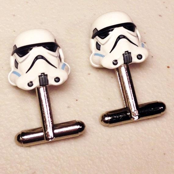 Groomsmen Gifts, Wedding, Storm Trooper silver toned cufflinks in gift box