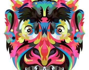 Devil. Cross Stitch pattern, Digital Download PDF. Geometric design of a devil or demon. Bright colorful and modern in design.