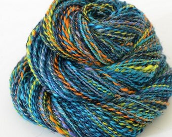 Handspun Yarn - Silk and Merino Yarn - Art Yarn- 2oz, 180yd, 18WPI
