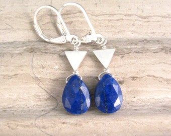 Lapis Lazuli Earrings with Tiny Triangle Links - Natural Dark Blue Lapis Lazuli Stones - Geometric Triangle Earrings
