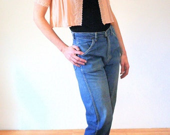 Ride Em Cowgirl, 50s Jeans, Wrangler Jeans, Blue Bell Cut Off Jeans, 1950s Women's Jeans, Distressed Wranglers Vintage Jeans, 30 Inch Waist