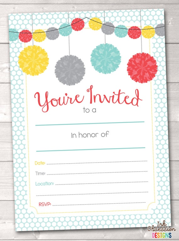 Items similar to Fill In Printable Party Invitations Instant Download Graduation Party