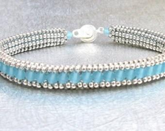 blue beach glass bracelet crystal sterling silver jewelry