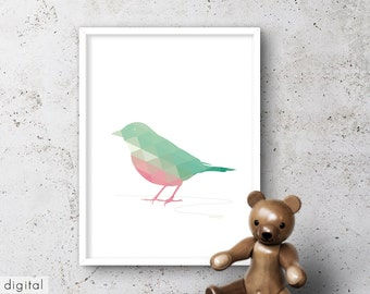 Pink Green Bird Printable Nursery Decor Minimalist Triangle Pastel Kids Room Art Summer Colors Vert Clair Rose Petit Oiseau Grün Rosa Vogel