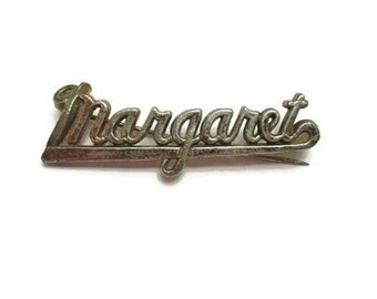 Margaret name brooch -  Early 1900s -  Silver plated metal