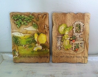 Holly Hobbie Inspirational Wall Plaques , Vintage Nursery Wall Decor , 3 Dimensional Wall Plaques , 1970s Holly Hobbie Girls In Bonnets
