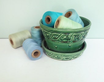 Green McCoy Pottery Flower Pot, 1940s, Embossed Dots & Greek Key Pattern, Attached Saucer
