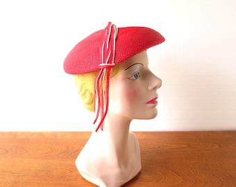 Vintage 1960s Hat / Red Beret / Straw Hat
