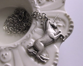 Silver Unicorn Necklace horse necklace fantasy necklace mythical equestrian jewelry animal guide renaissance jewelry Vintage  handmade