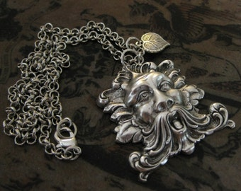 Silver Greenman Necklace Vintage Nature Spirit forest spirit forest jewelry renaissance necklace Woodsy Leaf Jewelry Nature Lover Green Man
