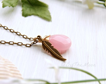 Pink Stone Necklace, Feather Necklace, Boho Jewelry, Gift for Her, Gold Necklace, Valentines Gift, Boho Necklace, Gift, Romantic Gift