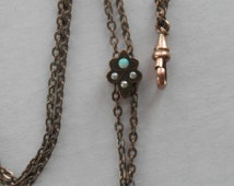 Antique Victorian Ladies Watch Chain with Seed Pearl and Opal Slide