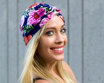 Soft Turban Stretch Chemo Cap Hawaiian Floral Pattern Tichel Hair Wrap Packable Turban Doo Rag Fall Fashion Hair Accessory Scarf Pink Flower