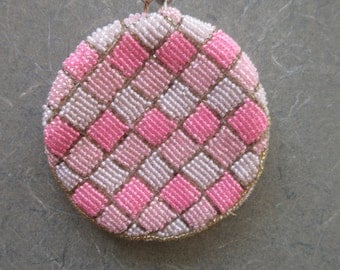 Vintage Beaded Change Purse, Pink and White, Pink Beaded Purse, Round Coin Purse,  Hand Made, Made in Korea, Pink Checks, Vintage Accessory