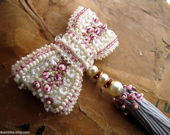 Ivory Bow Brooch Beaded Bow Brooch Tassel Brooch Needlework Brooch Pink Brooch Swarovski Bow Brooch
