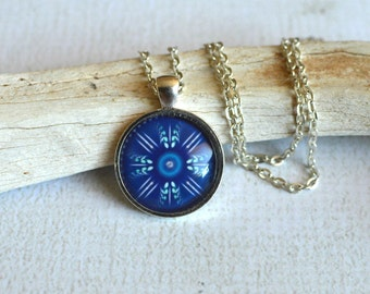 Glass Tribal Necklace- Blue Tribal Glass Pendant- Silver Plated Tribal Necklace- Blue Necklace- Tribal Jewelry- Kaleidoscope Jewelry