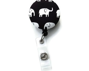 Retractable ID Badge Holder - Elephant Badge Reel - Name Tag Reel - Choice of Clip