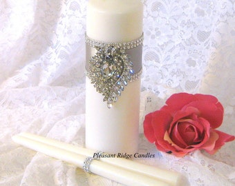 Crystal Brooch Unity Candle Set Rhinestone Romantic Catholic Wedding Unity Candle Unique Candle Color & Ribbon Choice Stand Optional