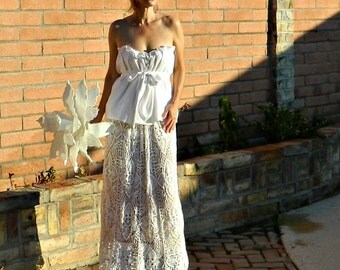 Boho Wedding Dress-Lace Wedding Dress-Bohemian Wedding Dress-Bohemian Dress-Top-Skirt-Hand Crochet Lace Couture Maxi-Bride Collection