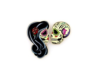 Ashes to Ashes . . . Set of Rings - Forever Love - Day of the Dead Sugar Skull Lovers Couple