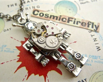 Steampunk Robot Necklace Tiny Vintage Watch Movement Small Silver Robot Antique Vintage Watch Movement Swarovski Crystal Eye