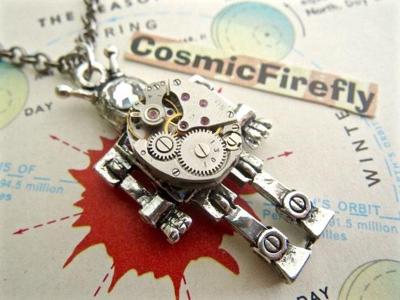 Steampunk Robot Necklace Tiny Vintage Watch Movement Small Silver Robot Antique Vintage Watch Movement Swarovski Crystal Eye