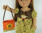 "18"" Doll Clothes, 18"" Doll Dress and Purse and headband, Scarecrow Doll Dress, Brown and Orange dress, Handmade 18 inch Doll Dress"