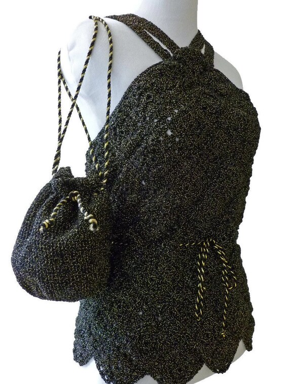 Elegant Black Halter Top, Metallic Womens Crochet Halter, Metallic Gold