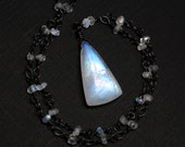 Moonstone Necklace, BIG Rainbow Moonstone on Oxidized Sterling Silver - Icewind by CircesHouse on Etsy