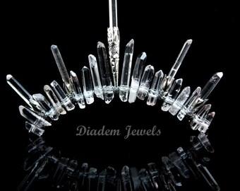 Crystal Crown Quartz Crown Quartz Tiara Wedding Tiara Crystal Tiara