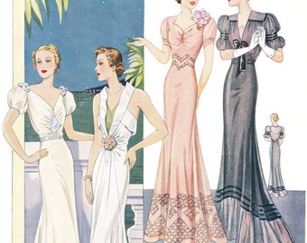 PDF instant download - Summer 1938 - 30s haute couture Parisian vintage sewing pattern catalog - 40 pages