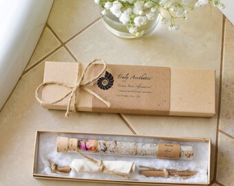 Organic & All Natural Bath Salt Test Tubes, Bath Salts, Herbal Floral Wedding Favor, Hotel, Spa, Eco, Luxury Gift Set, Test Tube Favor