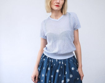SALE...70s knit top. blue pastel top. eyelet sweater - small to medium