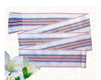 Sash Belt - Bohemian Clothing Women - Woven Belt - Renaissance Fair Costumes - Guatemalan Fabric - Lily White Multicolor Stripes SA34