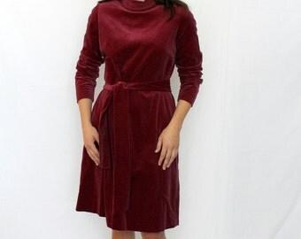 1960s Grape Wine Burgundy Cotton Velvet Dress Vintage - Size 4