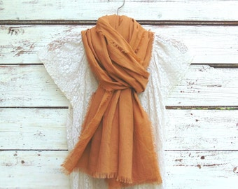 Sweet Caramel Cotton Gauze Scarf, Summer Scarf, Cotton Scarf, Long Scarf, Brown Scarf, Fashion Accessories for Women, Jannysgirl, Gift Idea